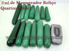 10 Massageador Roliço Quartzo Verde 8 a 12cm Atacado Cod 210004