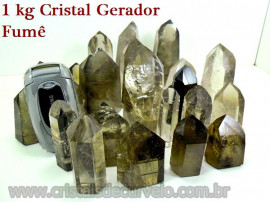 01 kg Fumê Cristal Gerador Pontas Lapidado COMUM  Pedras de Garimpo ATACADO