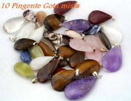 10 Pingente GOTA Pedra MISTO Natural Montagem Flasch Dourado ATACADO