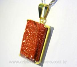 Pingente Pedra do Sol Facetado Manual Montagem Garra Dourado REFF 23.4
