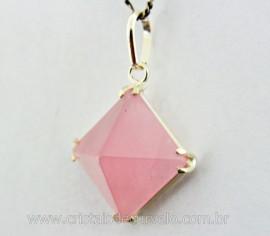 Pingente PIRAMIDE Pedra Quartzo Rosa na Garra em Prata 950 Lapidação Piramide Pino Prata