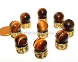3 Bolinha Pedra Olho de Tigre Natural 14mm Sem Furo REF BS4655
