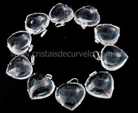 5 Pingente Coração Cristal Atacado Prata 950 Garra REFF CP8757
