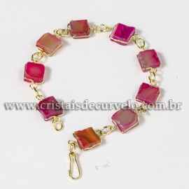 Pulseira Quadrado Pedra Agata Rosa Ranhurado Elo Dourado 113121