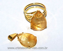 Conjunto Anel e Pingente Gota Citrino Bombardeado na Garra Dourado Reff CP1764