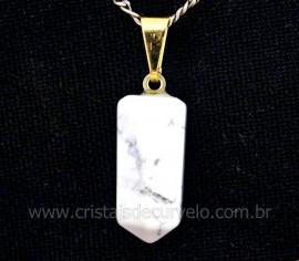 Pingente Pontinha Pedra Howlita Branca Presilha e Pino Flash Dourado