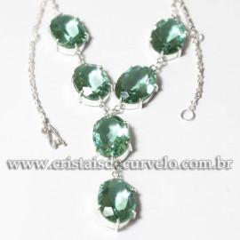 Conjunto Maxxi colar Obsidiana Verde 7 Pedras Prata 950 125216