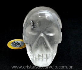 Crânio Quartzo Lapidado Artesanal Pedra Cristal Semi Transparente Cod 276.3