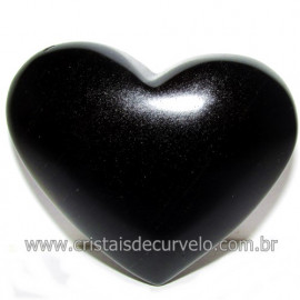 Coraçao de Obsidiana Negra Mineral Lava Vulcanica Cod 117924