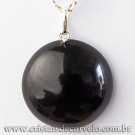 Pingente Cabochão Disco Obsidiana Negra Prata 950 Ref 113057