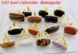 100 Anel Retangular Cabochao Pedra Natural MistoFlash Dourado Aro Ajustavel ATACADO