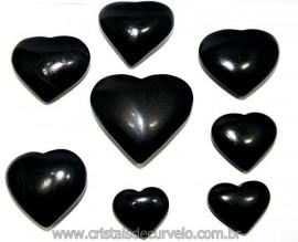10 Coração Pedra Quartzo Preto Natural 4.7 a 6.5cm ATACADO
