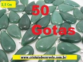 50 Gotas VERDE Pedra Quartzo Pingente Banhado Prata