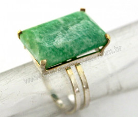 Anel Prata 950 Pedra Amazonita Verde Multifacetado Aro Ajustavel ao Dedo REFF 33.7