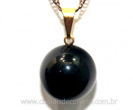 Pingente Bolinha Pedra Obsidiana Negra Pino Dourada