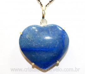 Pingente Coração Quartzo Azul Prata 950 Garra REFF CP9888