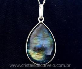 Pingente Pedra Labradorita Gota Cabochao Envolto Prata 950 Pedra Natural REF 13.7.