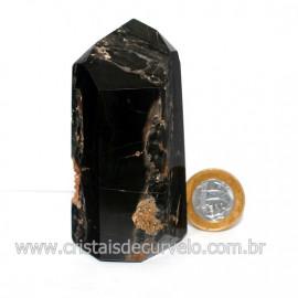 Ponta Onix Preto Pedra Natural Gerador Sextavado Cod 126748