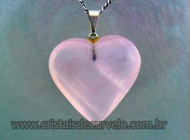 Pingente Coração Extra QUARTZO ROSA SABONETE Pedra Opalado Extra