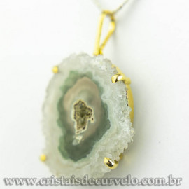 Pingente Flor de Ametista Pedra Natural Garra Dourado 120612