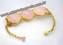 Bracelete 03 Pedras Quartzo Rosa Lapidação Cabochão Disco Dourado Cod 36.7