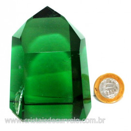 Ponta Obsidiana Verde Cristalizada Transparente Cod 127477