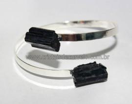 Bracelete de Turmalina Preta Ajustável Prateado Reff BT9739