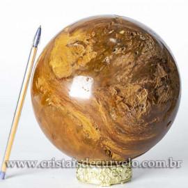 Bola Grande Jaspe Amarelo Pedra Natural 13cm Cod 120454