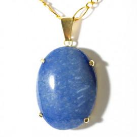 Pingente Extra Cabochao Pedra Quartzo Azul Montagem Garra Dourado
