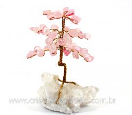 Árvore Da Felicidade Pedra Quartzo Rosa na Drusa REFF AD9580