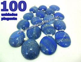 100 Pingente Cabochão QUARTZO AZUL Pedra Natural Castoação Pino Banho Prata