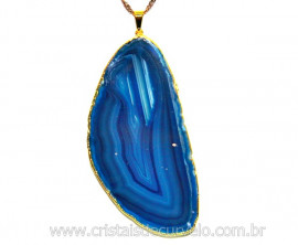 Pingente Chapa de Agata Azul Envolto Dourado REFF PA9584