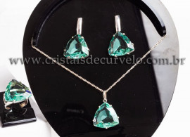Conjunto colar Gema Obsidiana Verde Facetado Prata 950 111580