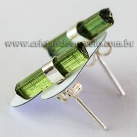 Brinco Canudo Turmalina Verde Bruto Envolto Prata 950 112574