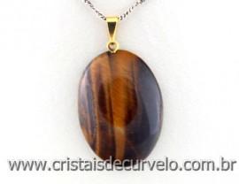 Pingente Cabochão OLHO DE TIGRE Pedra Natural Castoação Pino Dourado