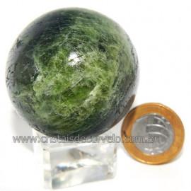 Esfera Epidoto Verde Incrustado no Quartzo Natural Cod 113579
