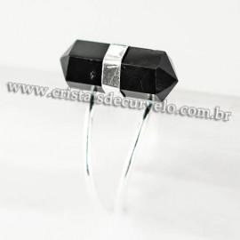 Anel Micro Pontinha Obsidiana Negra Bi Ponta Ajustavel Prateado