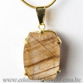 Pingente Pedra Cristal Rutilo Baguette Garra Dourada 112950