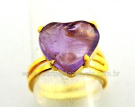 Anel Coração Pedra Ametista Banho Dourado Ajustavel AC3911