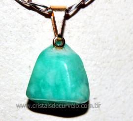 Pingente Pedrinha Amazonita Verde Montagem Dourado Reff PP7549