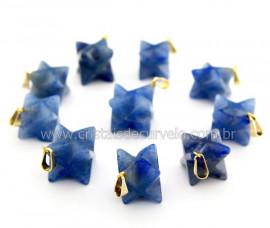 100 Merkaba Pingente Pedra Quartzo Azul Pino Dourado Reff PM1940