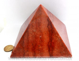 Piramide Quartzo Vermelho Baseada Queops Pedra Comum Lapidado Manual Cod 1.029