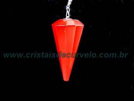 Pendulo Pedra JASPE VERMELHOl P Radiestesia Lapidação Facetado Brinde Corrente