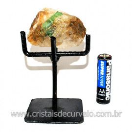 Esmeralda Canudo Pedra Natural com Suporte De Ferro Cod 119343