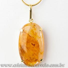 Pingente Oval Hematoide Amarelo Pedra Garra Dourado 112536
