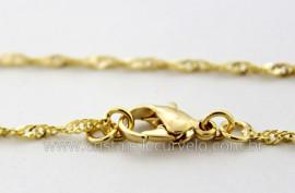 Cordão ou Correntinha Singapura Banho Flash Dourado 45 cm  REF SB4501