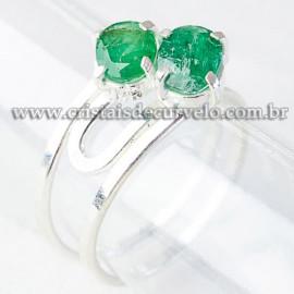 Anel 2 Gema Esmeralda Extra Facetado Prata 950 Ajustavel 112529