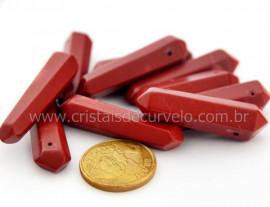 Bi Terminado Jaspe Vermelho Lapidado Furado Para Pingente de Colar Furo Vazado Lateral
