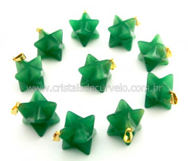 100 Merkaba Pingente Quartzo Verde Pino Dourado Reff PM1454
