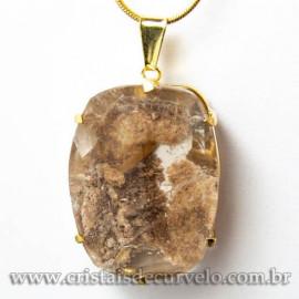 Pingente Pedra Cristal Lodolita Baguette Garra Dourada 112939